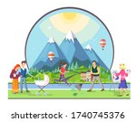 different people walking in the ... | Shutterstock .eps vector #1740745376