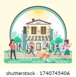 different people walking in the ... | Shutterstock .eps vector #1740745406