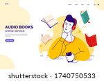 audiobook service web page... | Shutterstock .eps vector #1740750533