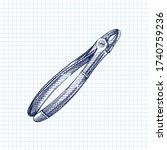 hand drawn sketch of dental...   Shutterstock .eps vector #1740759236