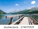wooden jetty at the lake in... | Shutterstock . vector #174075929