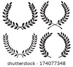 black silhouettes of laurel... | Shutterstock .eps vector #174077348