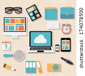modern flat icon set for web... | Shutterstock .eps vector #174078500