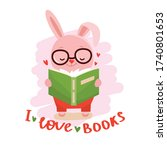 rabbit with book and text   i... | Shutterstock .eps vector #1740801653