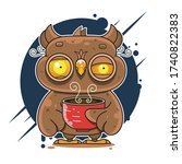 Owl Drinking Coffee And Can\'t...