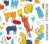 seamless pattern with cute... | Shutterstock .eps vector #1740832766