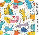 seamless pattern with cute... | Shutterstock .eps vector #1740839030