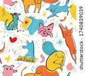 seamless pattern with cute... | Shutterstock .eps vector #1740839039