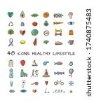 world health day. 48 icons... | Shutterstock .eps vector #1740875483
