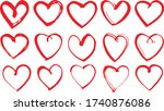 set of hand drawn hearts shape... | Shutterstock .eps vector #1740876086