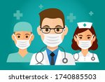 team of health workers icons ... | Shutterstock .eps vector #1740885503