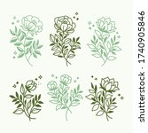 vector set of floral... | Shutterstock .eps vector #1740905846