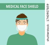 a young man wearing face mask... | Shutterstock .eps vector #1740907859
