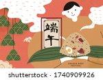 boy holding hot steamed rice...   Shutterstock .eps vector #1740909926