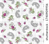 pink roses pattern on abstract... | Shutterstock .eps vector #1740909956