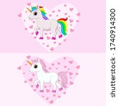 cute pink and white unicorns... | Shutterstock .eps vector #1740914300