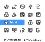 seo vector line icons. simple... | Shutterstock .eps vector #1740923129