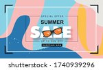 summer sale design with wave... | Shutterstock .eps vector #1740939296