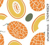cute melon seamless pattern.... | Shutterstock .eps vector #1740940829
