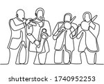 continuous line drawing of... | Shutterstock .eps vector #1740952253
