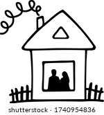 a lovely doodle home with a... | Shutterstock .eps vector #1740954836