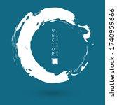 white ink round stroke on blue... | Shutterstock .eps vector #1740959666