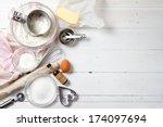 spring cookies ingredients  ... | Shutterstock . vector #174097694