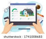 house and smart home security... | Shutterstock .eps vector #1741008683