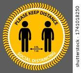 social distancing circle yellow ... | Shutterstock .eps vector #1741018250
