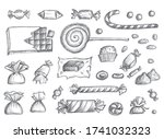 sketched candy set isolated.... | Shutterstock . vector #1741032323
