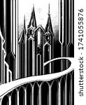 Architectural abstraction, fairytale background, magic, mystical castle with sharp high towers, with arch and long smooth bridge, on high supports, black and white graphic, with vertical lines.