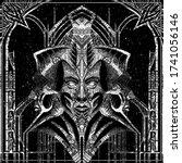 abstraction  dark monument in... | Shutterstock .eps vector #1741056146