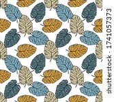 seamless pattern tropical plant.... | Shutterstock .eps vector #1741057373