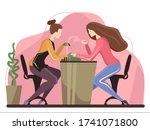 at manicure salon. manicurist... | Shutterstock .eps vector #1741071800