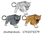 set of angry  leopard. stands... | Shutterstock .eps vector #1741073279