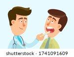 sore throat. a doctor examines... | Shutterstock .eps vector #1741091609