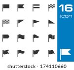 vector black flag icons set on... | Shutterstock .eps vector #174110660