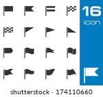 vector black flag icons set on... | Shutterstock .eps vector #174110660