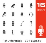 vector black microphone icons... | Shutterstock .eps vector #174110669