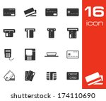 vector black credit cart icons...