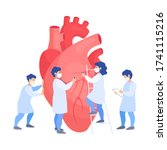 a team of doctors examines the...   Shutterstock .eps vector #1741115216