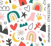 scandinavian baby pattern with... | Shutterstock .eps vector #1741121780