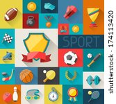 background with sport icons in... | Shutterstock .eps vector #174113420