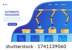 automatic conveyor packing... | Shutterstock .eps vector #1741139060