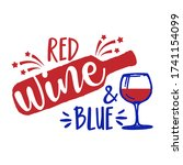 red  wine and blue   happy... | Shutterstock .eps vector #1741154099