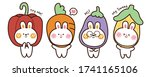 set of rabbit with vegetable on ... | Shutterstock .eps vector #1741165106
