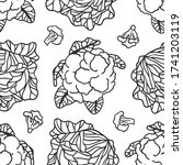 doodle cabbage seamless pattern.... | Shutterstock .eps vector #1741203119