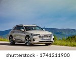 Small photo of Zagreb, Croatia - April 27, 2019: Audi e-tron stopped on a road. Audi e-tron is first fully electric SUV made by renowned German car manufacturer Audi with range up to 330 km.