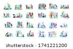 scenes with family doing... | Shutterstock .eps vector #1741221200