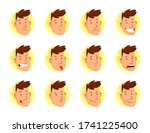 man face expressions. set of... | Shutterstock .eps vector #1741225400